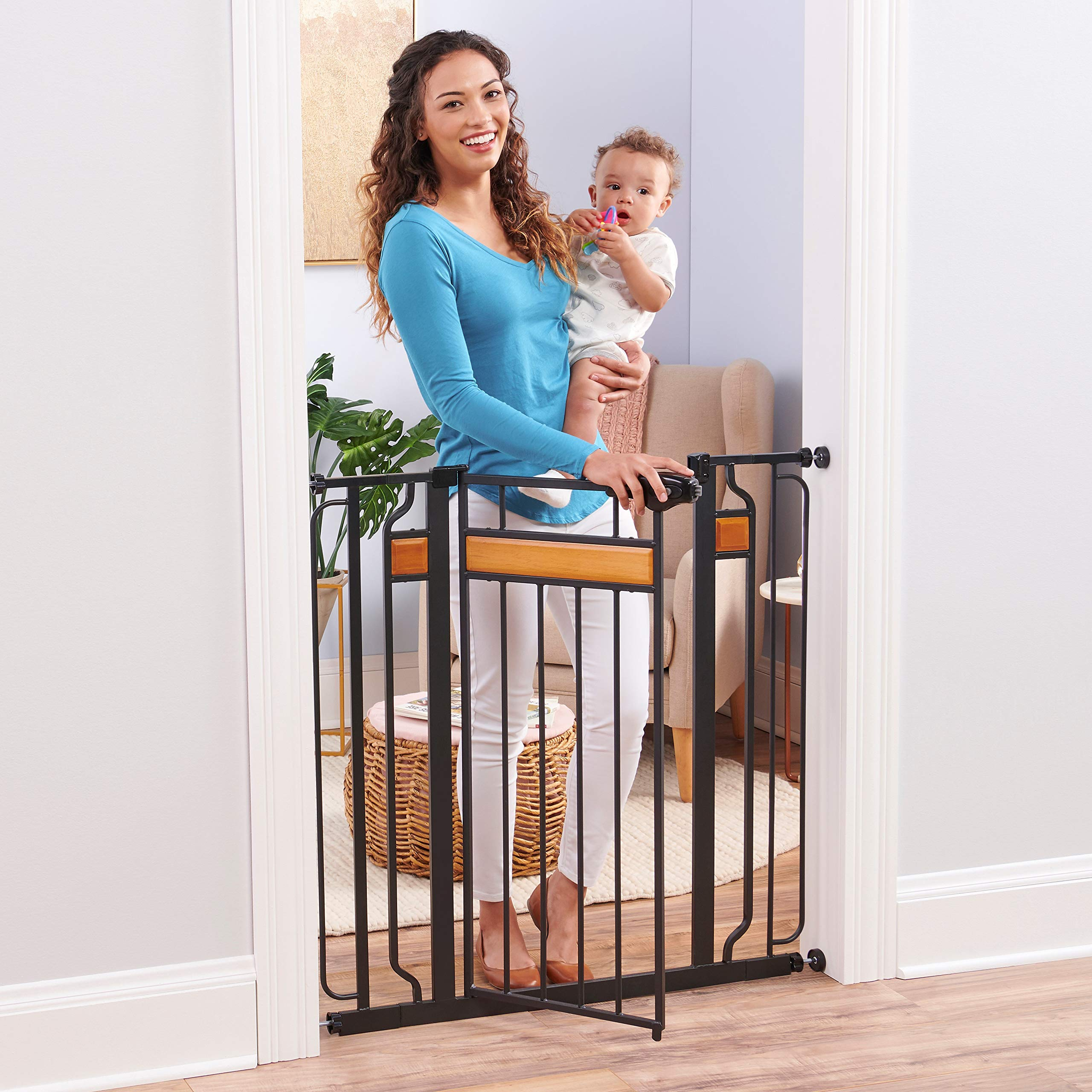 Regalo Easy Step Extra Tall Walk Thru Baby Gate Includes 4-Inch Extension Kit 4 Pack of Pressure Mount Kit and 4 Pack Wall Cups and Mounting Kit