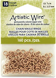 Amazon artistic wire a314 18s 10 05b 18 gauge jump ring artistic wire 18 gauge natural chain maille rings 964 inch diameter greentooth Image collections