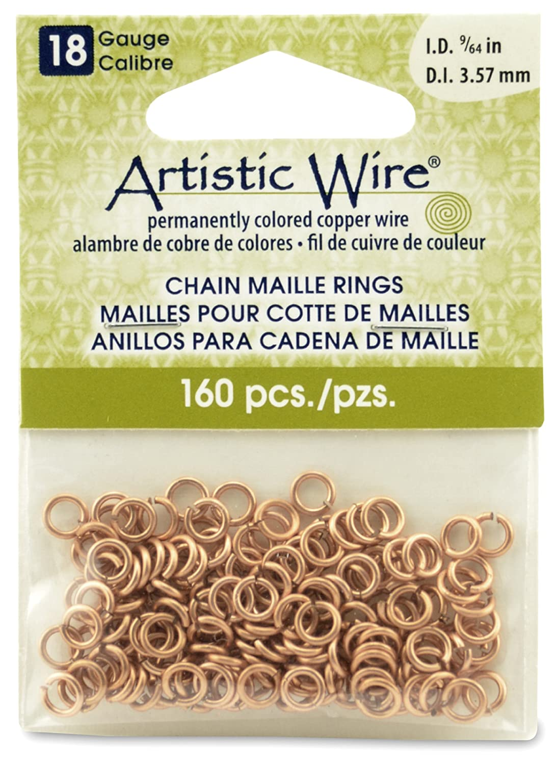 Artistic Wire Beadalon 9/64-inch 160 Piece 18-Gauge Natural Chain Maille Rings A314-18-10-05