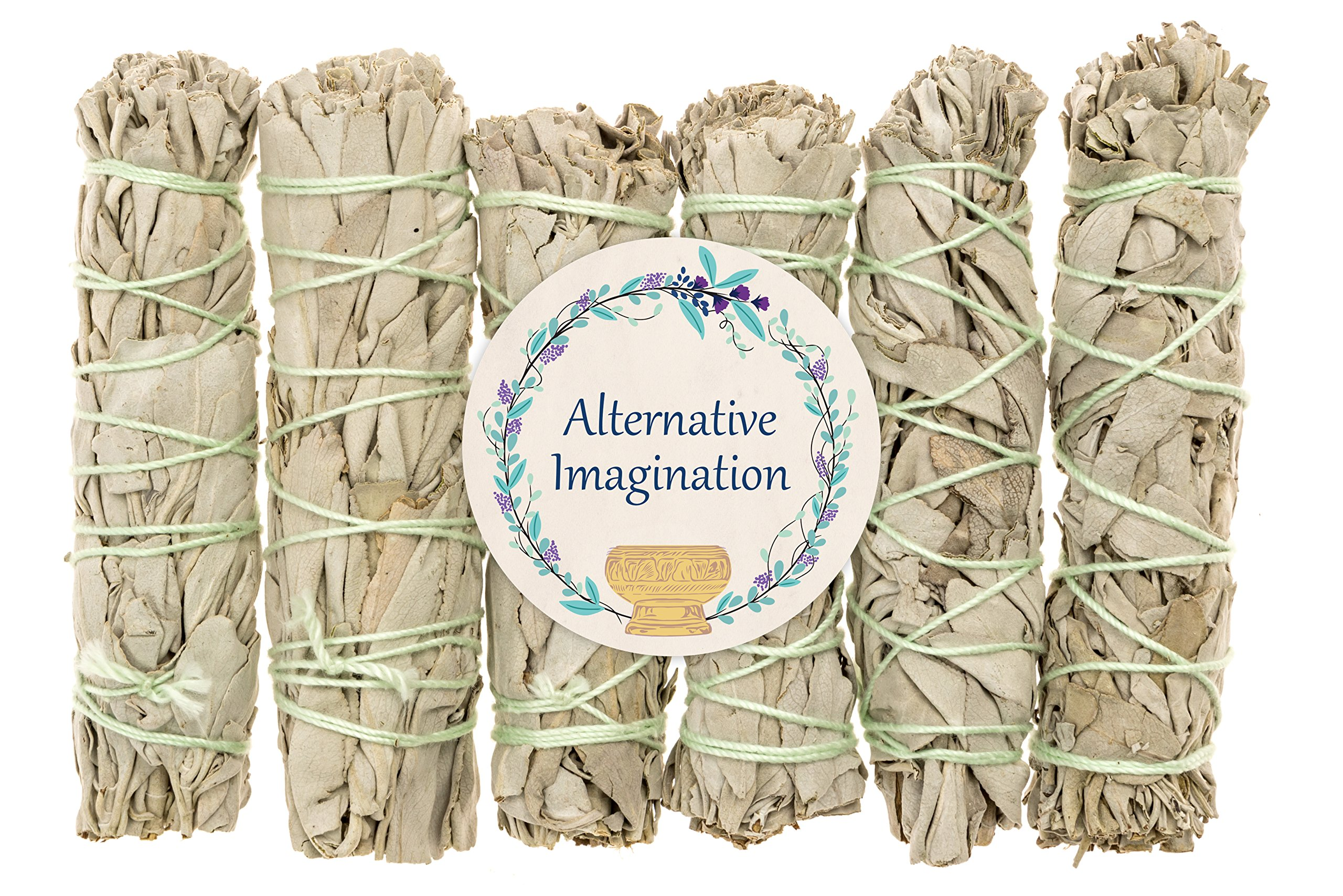 Alternative Imagination Premium California White Sage 4 Inch Smudge Sticks - 6 Pack Brand. by Alternative Imagination
