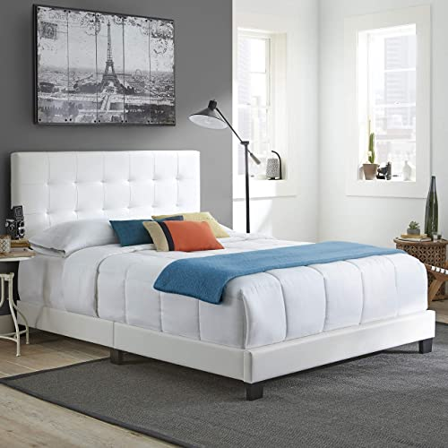Boyd Sleep Murphy Upholstered Platform Bed Frame with Tufted Headboard Faux Leather, White, Queen