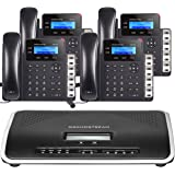Business Phone System by Grandstream: 4 Phones Starter Package Includes FREE Phone Service for 1 Year