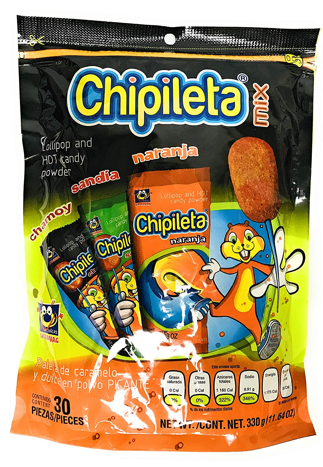 Chipileta Mix Lollipop and hot candy powder