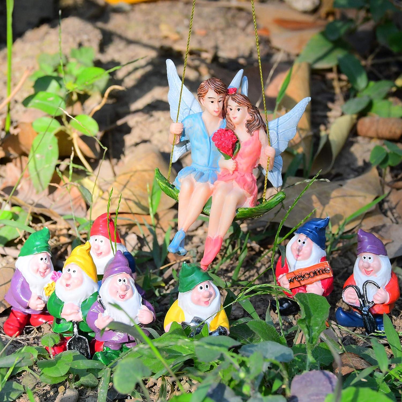 VAINECHAY F/ée Jardin D/écoration Jardins Accessoires Ornements Miniatures Jardin F/éerique Nain Figurine Maison Champignon Cadeau pour Coccinelle H/érisson Hibou Habitation
