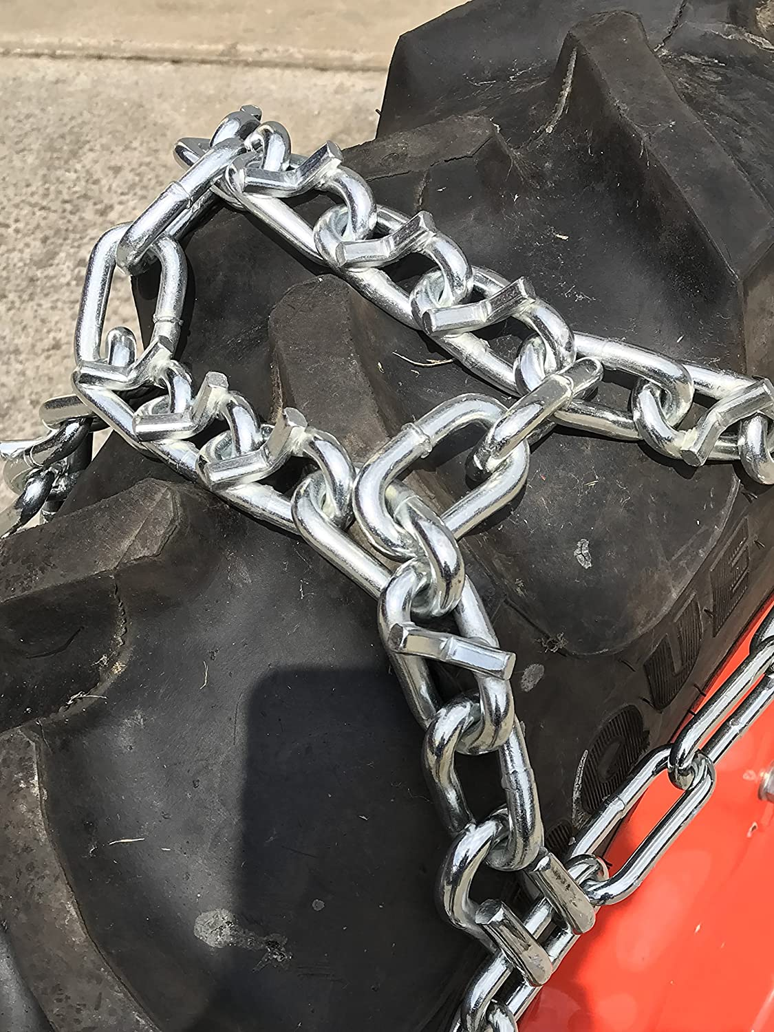 TireChain.com Compatible with Mahindra 1538 Shuttle AG R1 Rear 11.2x24 V-BAR Duo Grip Tire Chains