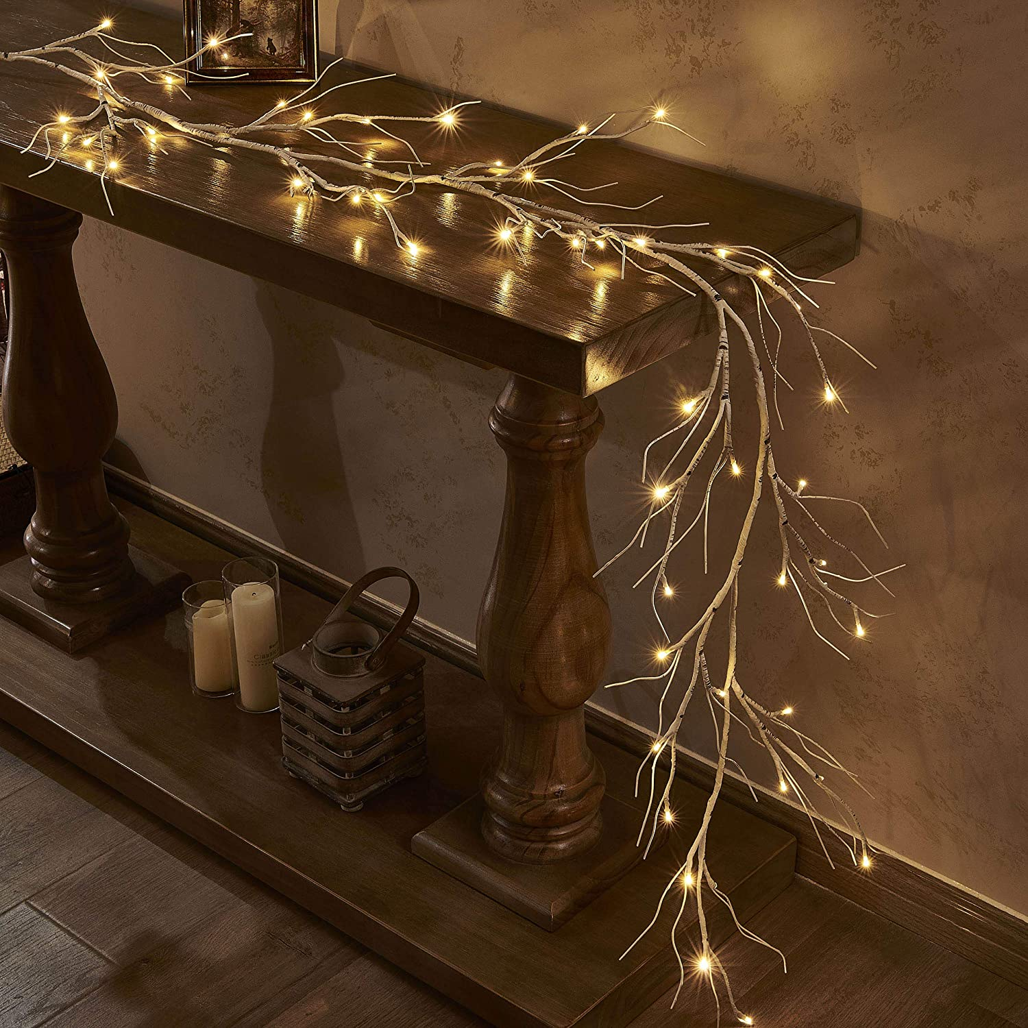 LITBLOOM Lighted Birch Garland 6FT 48 LED Battery Operated with Timer Pre-lit Twig Vine Lights for Christmas Holiday and Party Decoration