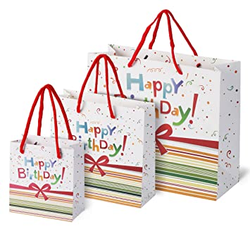 Birthday Gift Bags Rainbow Confetti Bow Design 3 Pack Small Medium Large Assortment