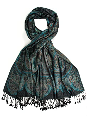 2ba48c90f Paulette Scarf, Pashmina Paisley Traditional Jacquard Shawl - hand made in  India (Black)