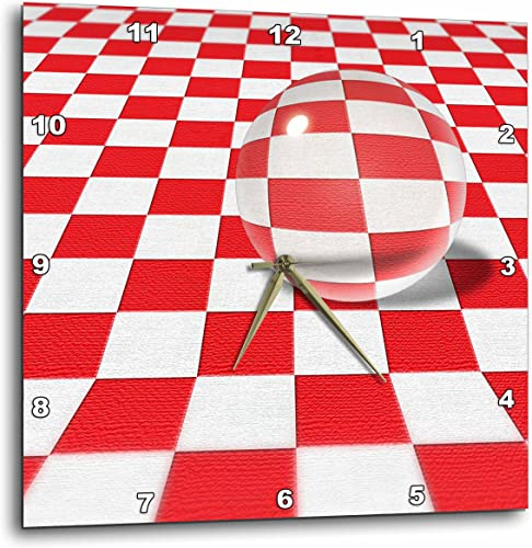 3dRose DPP_19459_1 Picnic Games Shows a Large Transparent Glass Marble on Checkered Table Cloth Wall Clock, 10 by 10-Inch