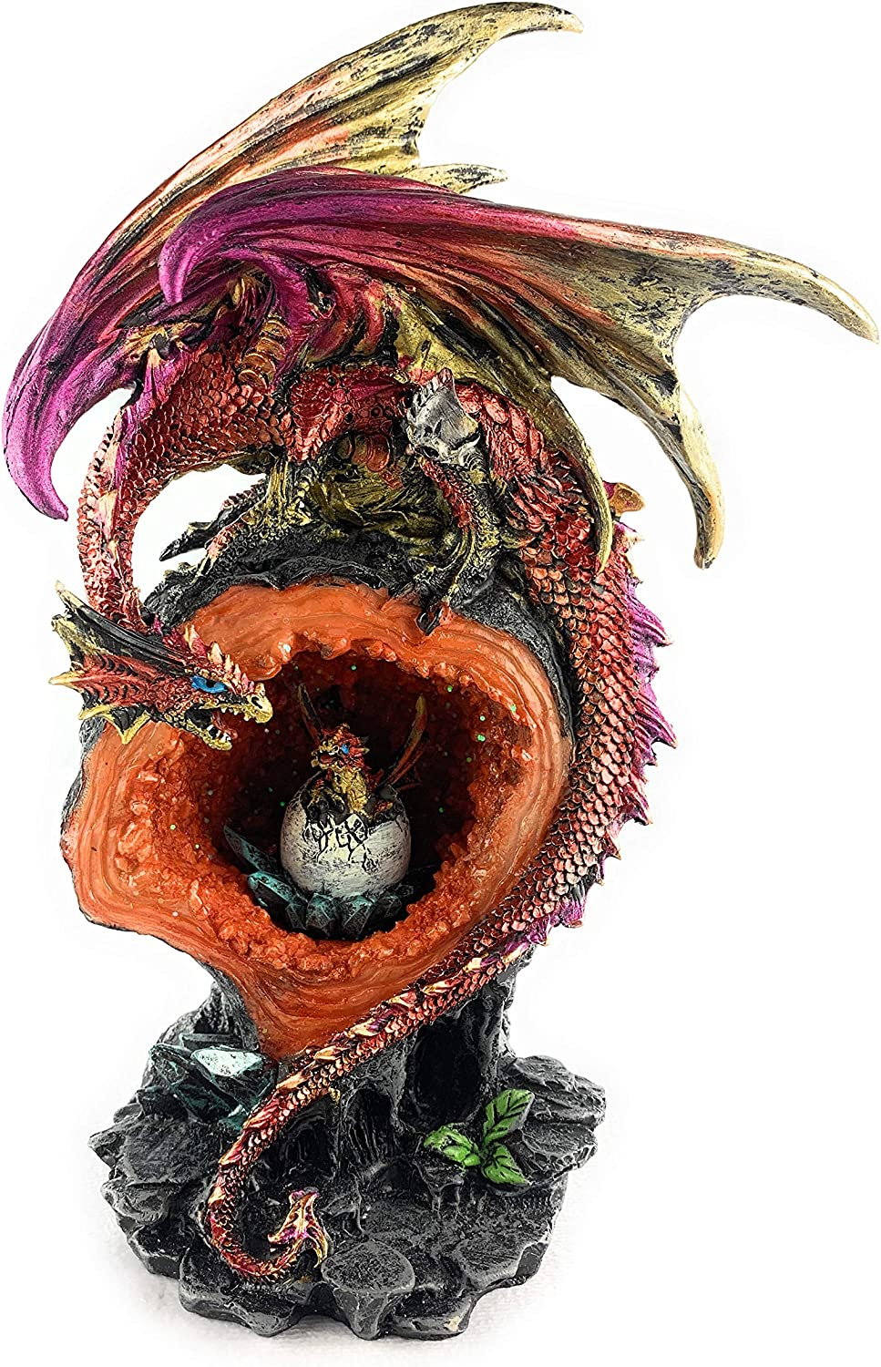 Dragon Mother On Faux Geode Sparkling Crystal Cave Protecting Baby Dragon in Egg Born Medieval Collectible Fantasy Figurine Statue Décor, 11 X 6.5 X 4.5 inches