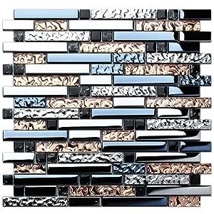 TST Mosaic Tiles Crystal Glass Tile Rose Gold Interlocking Chrome Silver Black Ink Blue Mosaic Bath Kitchen Fireplace Decor TSTGT107 (1 Sample 12x12 Inches)