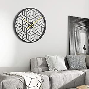"""Modern Black Wall Silent Clocks 15.75"""" Metal Decorative for Living Room Kitchen Bedroom Office Wall Decor with No Numbers"""
