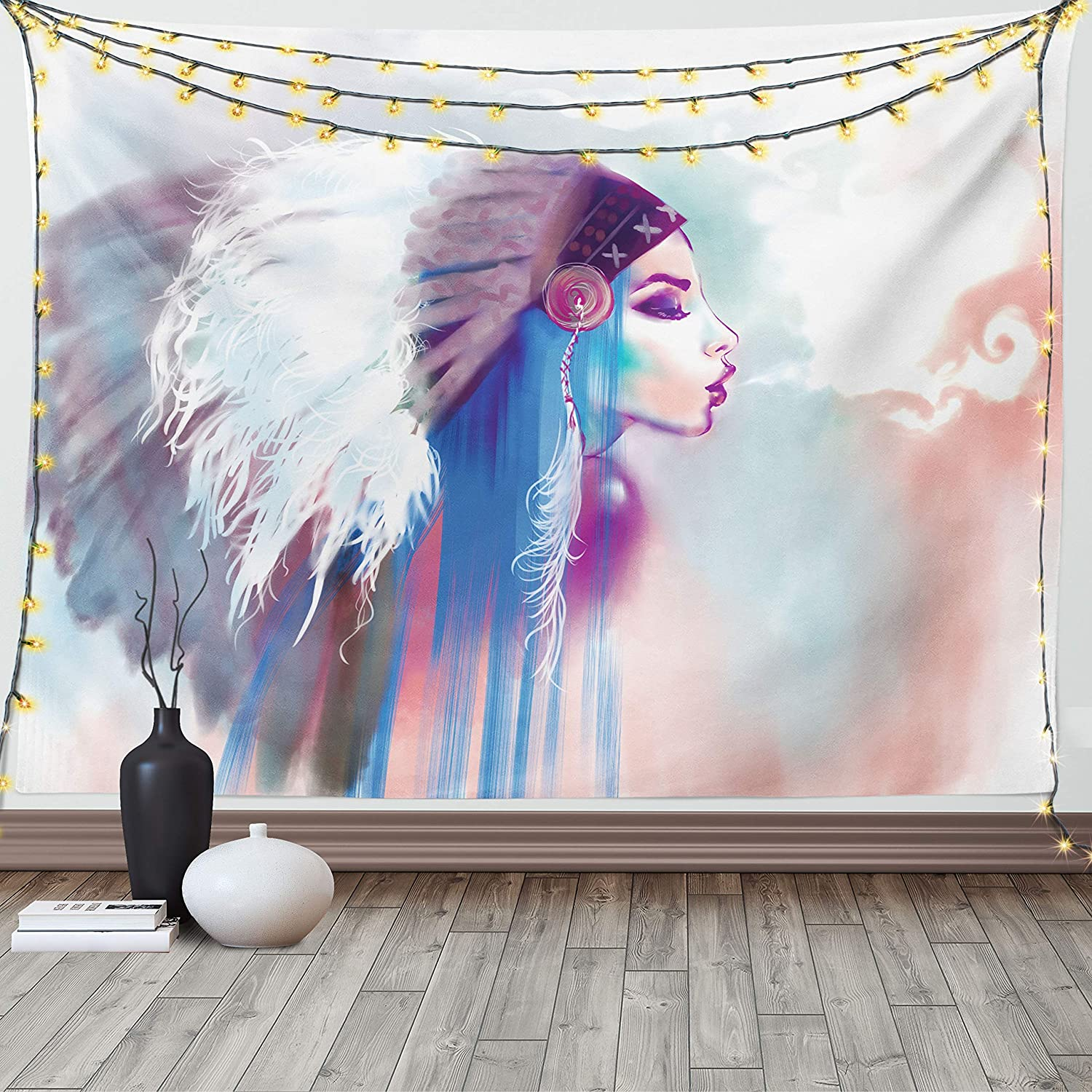 Ambesonne Tribal Tapestry, Girl Smoking Traditional Clothes Abstract Watercolor Background Illustration, Wide Wall Hanging for Bedroom Living Room Dorm, 60