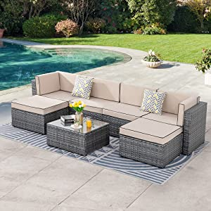 SUNLEI 7pcs Patio Outdoor Furniture Sets Conversation Set,Low Back All-Weather Rattan Sectional Sofa with Tea Table&Washable Couch Cushions&Ottoman(Silver Rattan)(Black&Khaki)