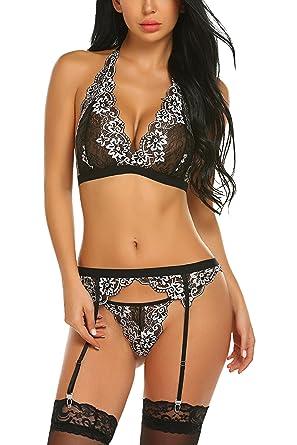 Avidlove Women Sexy Lingerie with Garter Belt Lace Babydoll Bodysuit  Bralette Bra and Panty Sett Black 5528ab978