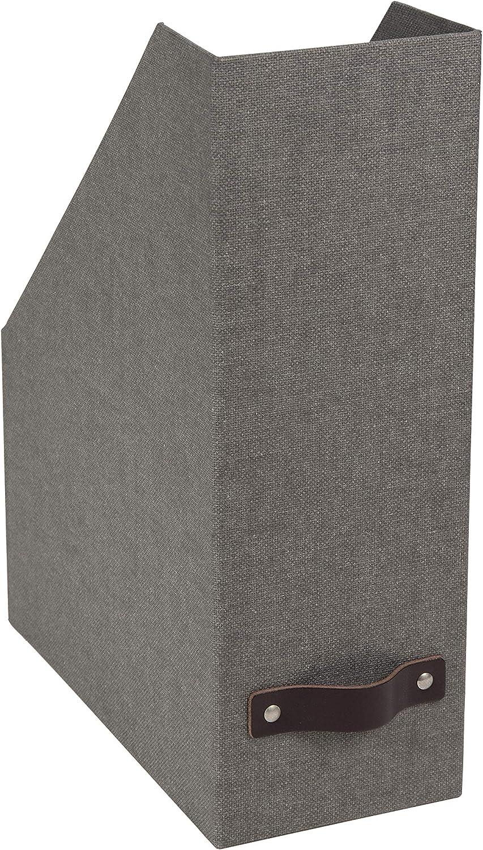 Bigso Estelle Canvas Fiberboard Upright Magazine Storage Box, 12.6 x 4.5 x 9.8 in, Grey