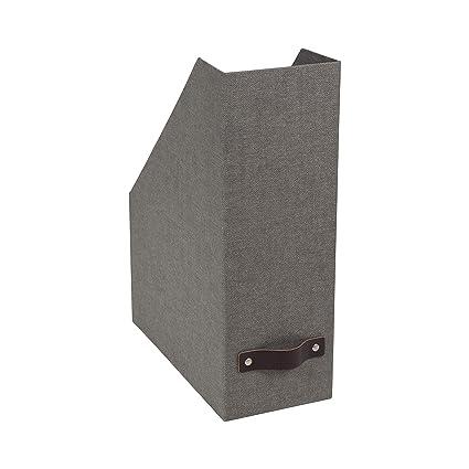 Merveilleux Bigso Estelle Canvas Paper Laminate Magazine File Storage Box, Grey