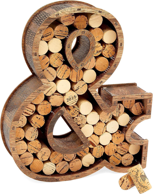 Wine Cork Holder, Ampersand Monogram Wall Mount (10 x 2.5 x 11.75 In)