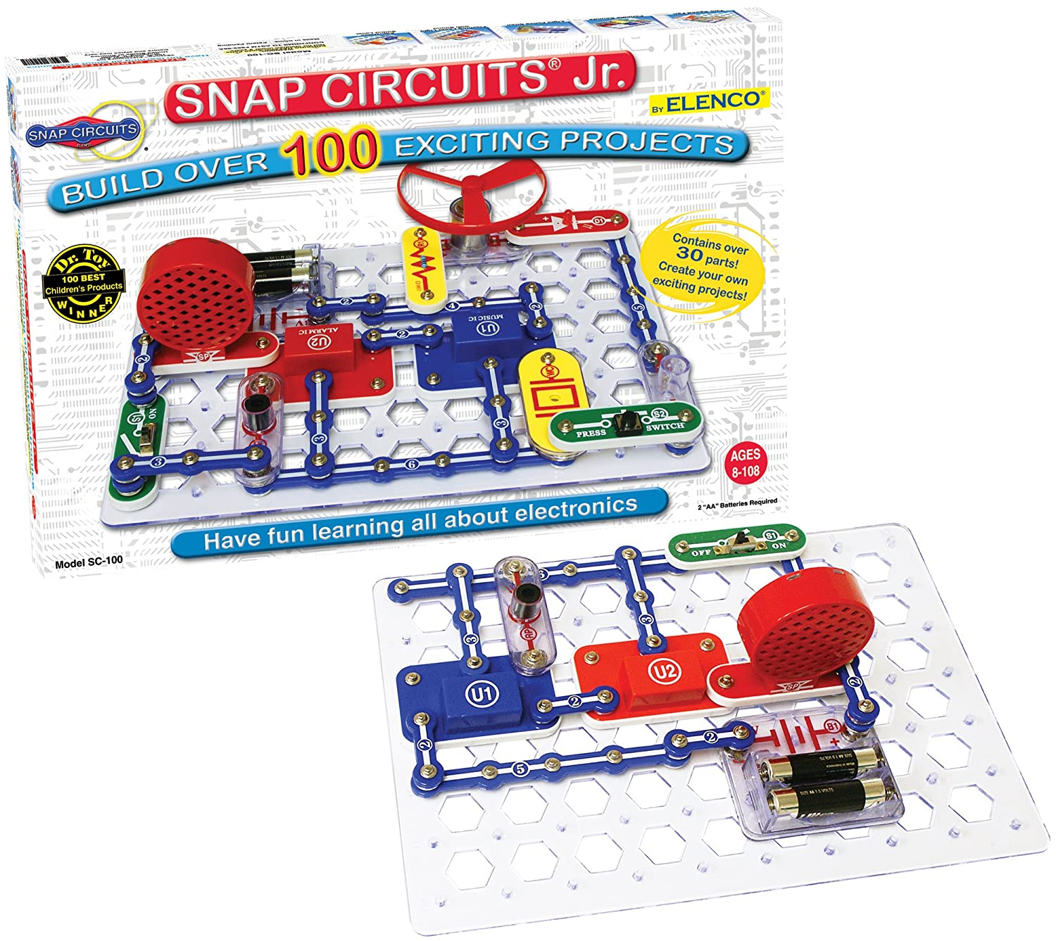 Snap Circuits Jr Sc 100 Electronics Exploration Kit Electrical Electronic Circuit Symbols Over Stem Projects 4 Color Project Manual 30 Modules Unlimited Fun