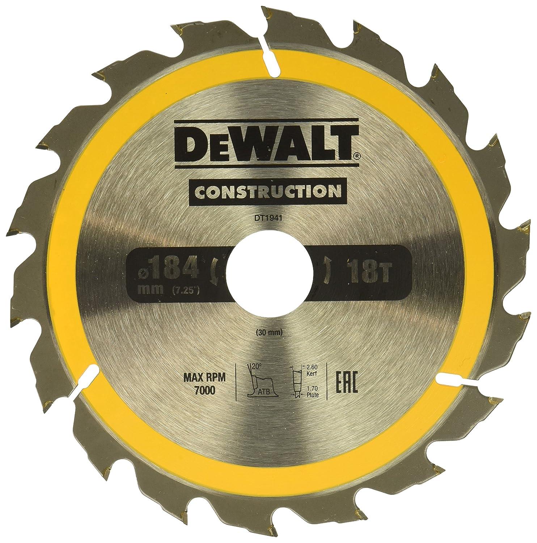 Dewalt DT1940-QZ Hoja para sierra circular port/átil para construcci/ón 184 x 16 mm 30D ATB 10/º