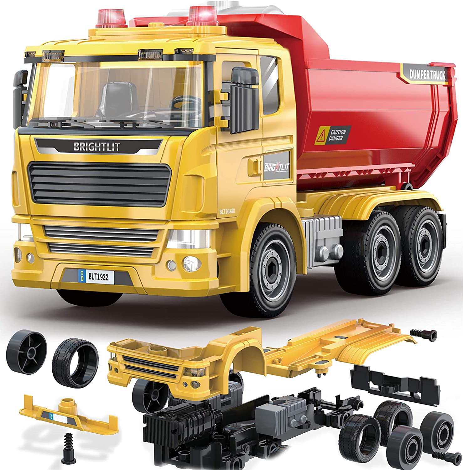 DIY Assembly Kit w// Realistic Lights and Sounds Educational Gift Idea for Kids Ages 5 6 7 8 9 Years Old 88 Pcs Take Apart STEM Toys Build Your Own Construction Truck Dump Truck