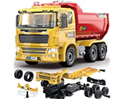 Dump Truck - 88 Pcs Take Apart STEM Toys Build Your Own Construction Truck, DIY Assembly Kit w/ Realistic Lights and Sounds E
