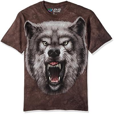 Liquid Blue Men's Nature Roaring Wolf Tie Dye Short Sleeve T-Shirt   .com