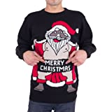 Men's Adults Novelty Naked Santa Merry Christmas Knitted Jumper Sweater
