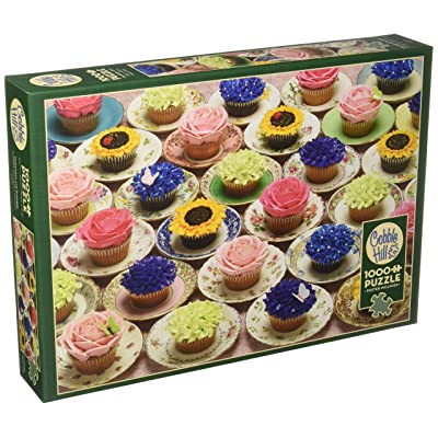 """Outset Media 1000 Pieces 26.625""""X19.25"""" Cupcakes & Saucers Jigsaw Puzzle, Cupcakes & Saucers: Toys & Games"""