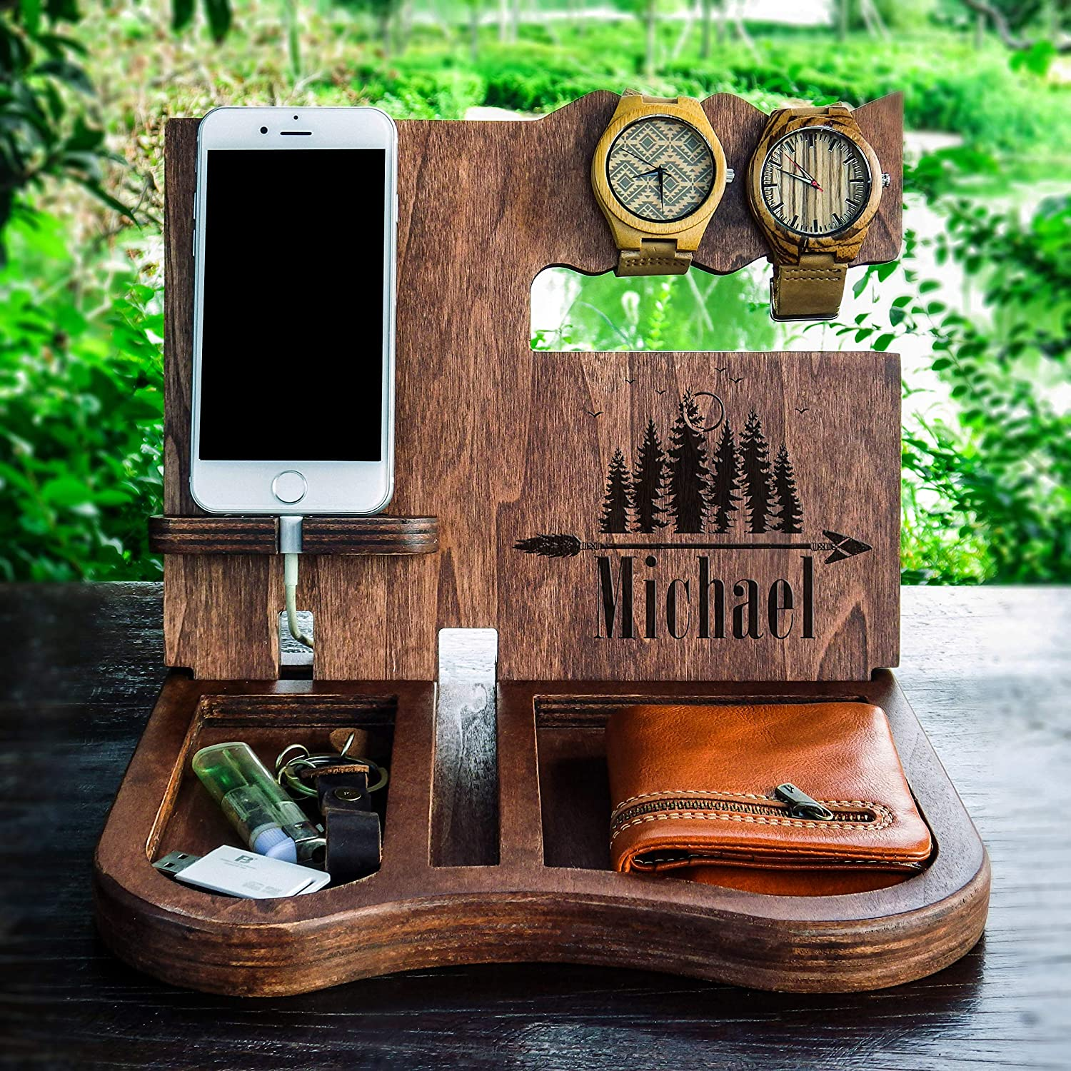 Groomsmen docking station Personalized wooden organizer Rustic Wedding Gifts Groomsmen Proposal Unique Engraved Gifts