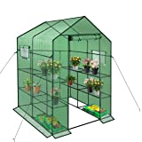 Reinforced Walk-in Greenhouse with Window,Plant Gardening Green House 2 Tiers and 8 Shelves,L56.5 x W56.5 x H76.5