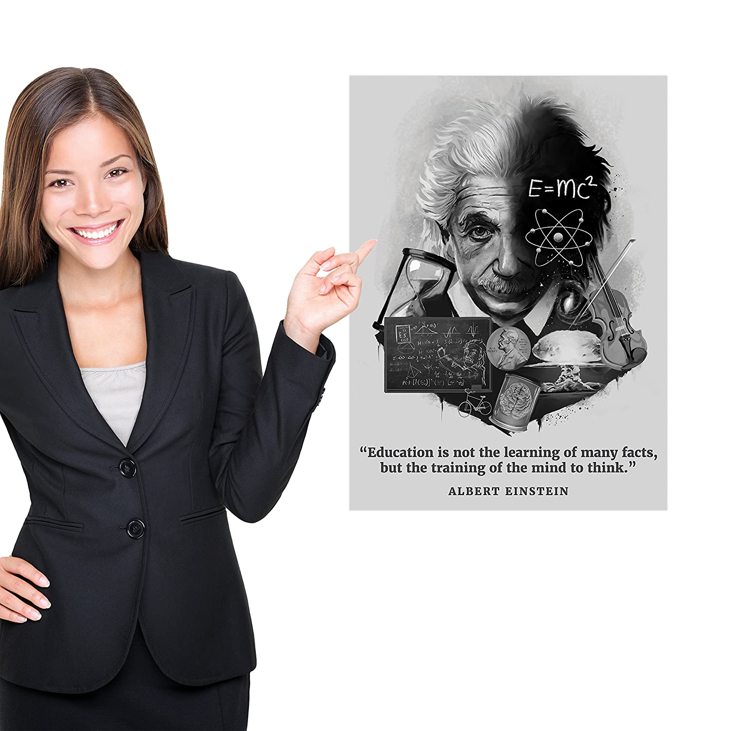 18 x 24, Laminated Inspirational and Motivational Quote Palace Learning Albert Einstein Poster