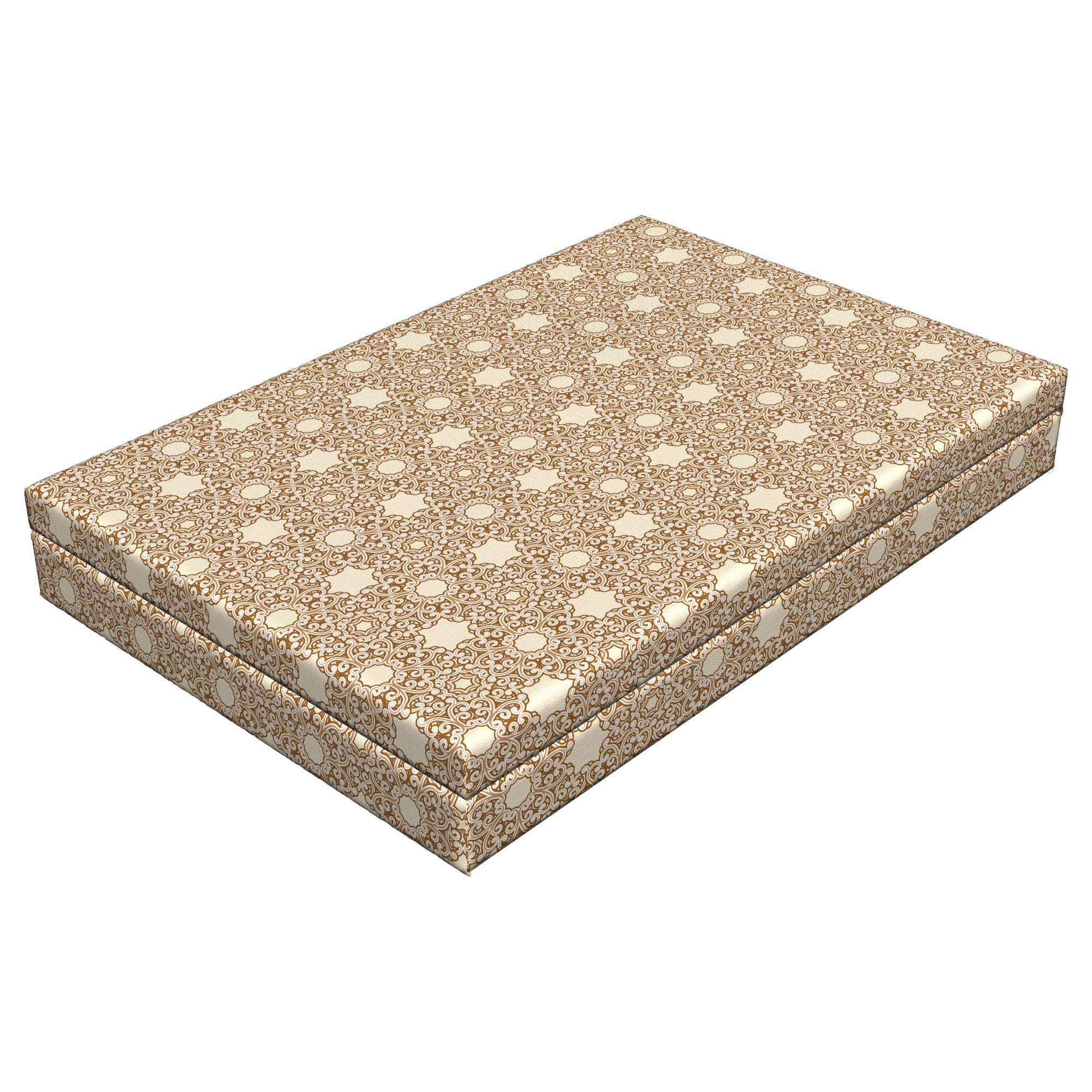 Lunarable Etnhic Dog Bed, Arabesque Motifs of Eastern Cultures Ornamental Patterned Swirled Lines, Durable Washable Mat with Decorative Fabric Cover, 48'' x 32'' x 6'', Beige Cream Redwood