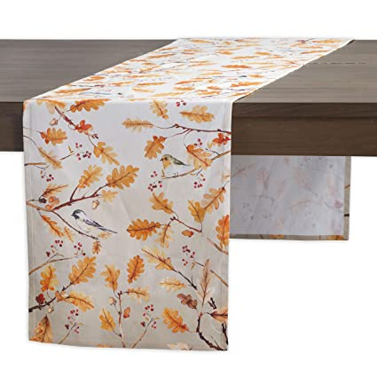 Maison d' Hermine Oak Leaves 100% Cotton Table Runner - Single Layer 14.5 Inch by 108 Inch. Perfect for Thanksgiving and Christmas best thanksgiving table runners