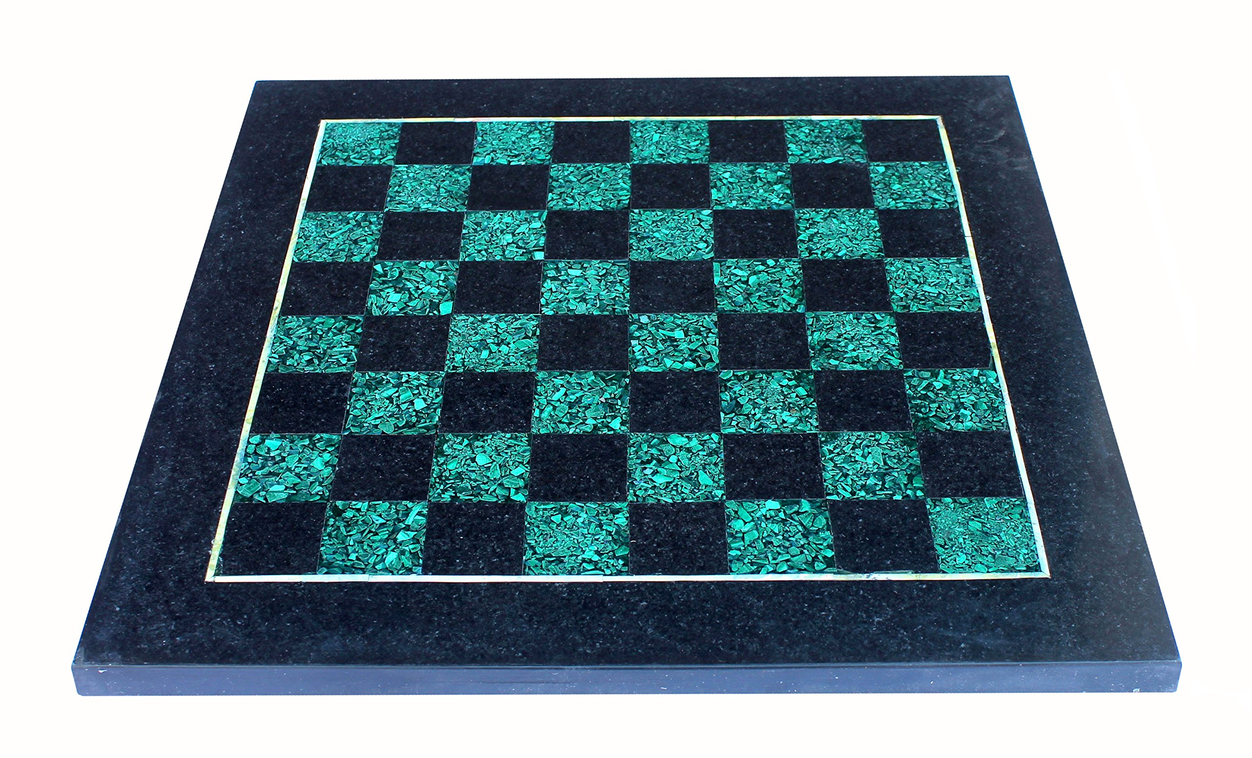 StonKraft 15'' X 15'' Collectible Black Natural Stone + Malachite & Marble Chess Board Without Pieces - Appropriate Wooden & Brass Chess Pieces Chessmen separately availabe by StonKraft Brand by StonKraft (Image #2)