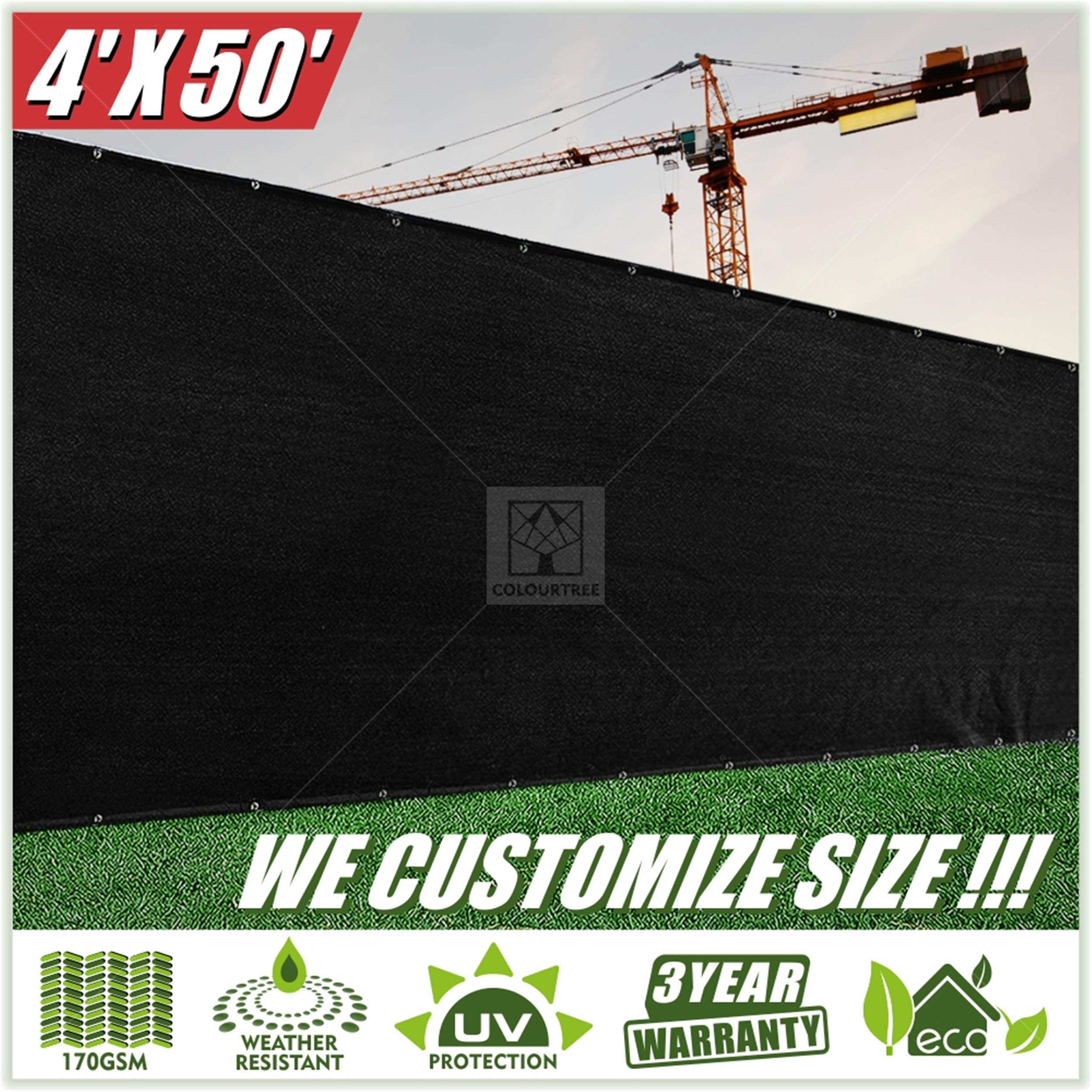 ColourTree 2nd Generation 4' x 50' Black Fence Privacy Screen Windscreen Cover Fabric Shade Tarp Netting Mesh Cloth - Commercial Grade 170 GSM - Heavy Duty - 3 Years Warranty - CUSTOM SIZE AVAILABLE by ColourTree