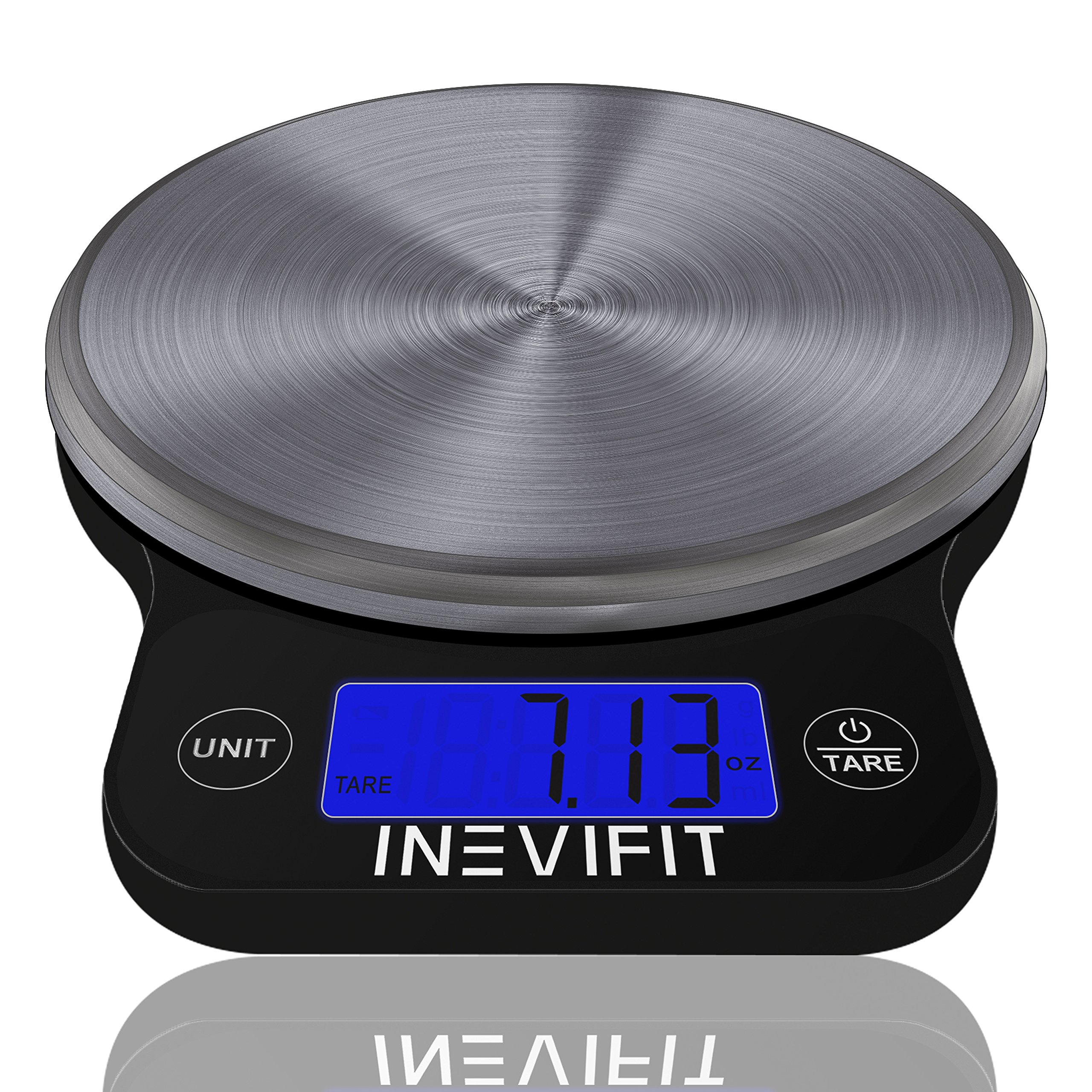 INEVIFIT DIGITAL KITCHEN SCALE, Highly Accurate Multifunction Food Scale 13 lbs 6kgs Max, Clean Modern Black with Premium Stainless Steel Finish. Includes Batteries & 5-Year Warranty by INEVIFIT