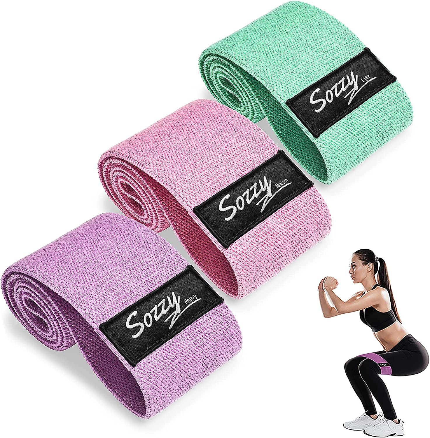 Workout Bands Fabric Sports Fitness Bands Stretch Resistance Loops ...