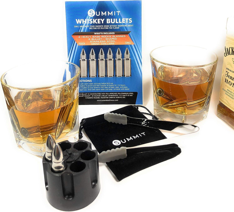 Whiskey Bullet - Juego de regalo de piedras y vasos – 6 chillers ...