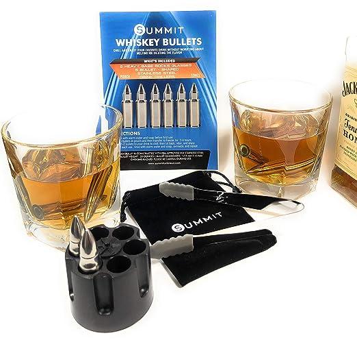 Whiskey Bullet - Juego de regalo de piedras y vasos - 6 chillers ...