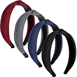 Hifari Headbands for Women Knot Headband for Kids/Girls 4 Pack - Headwear Elastic Turban Headband – Wide, Stretchy and…