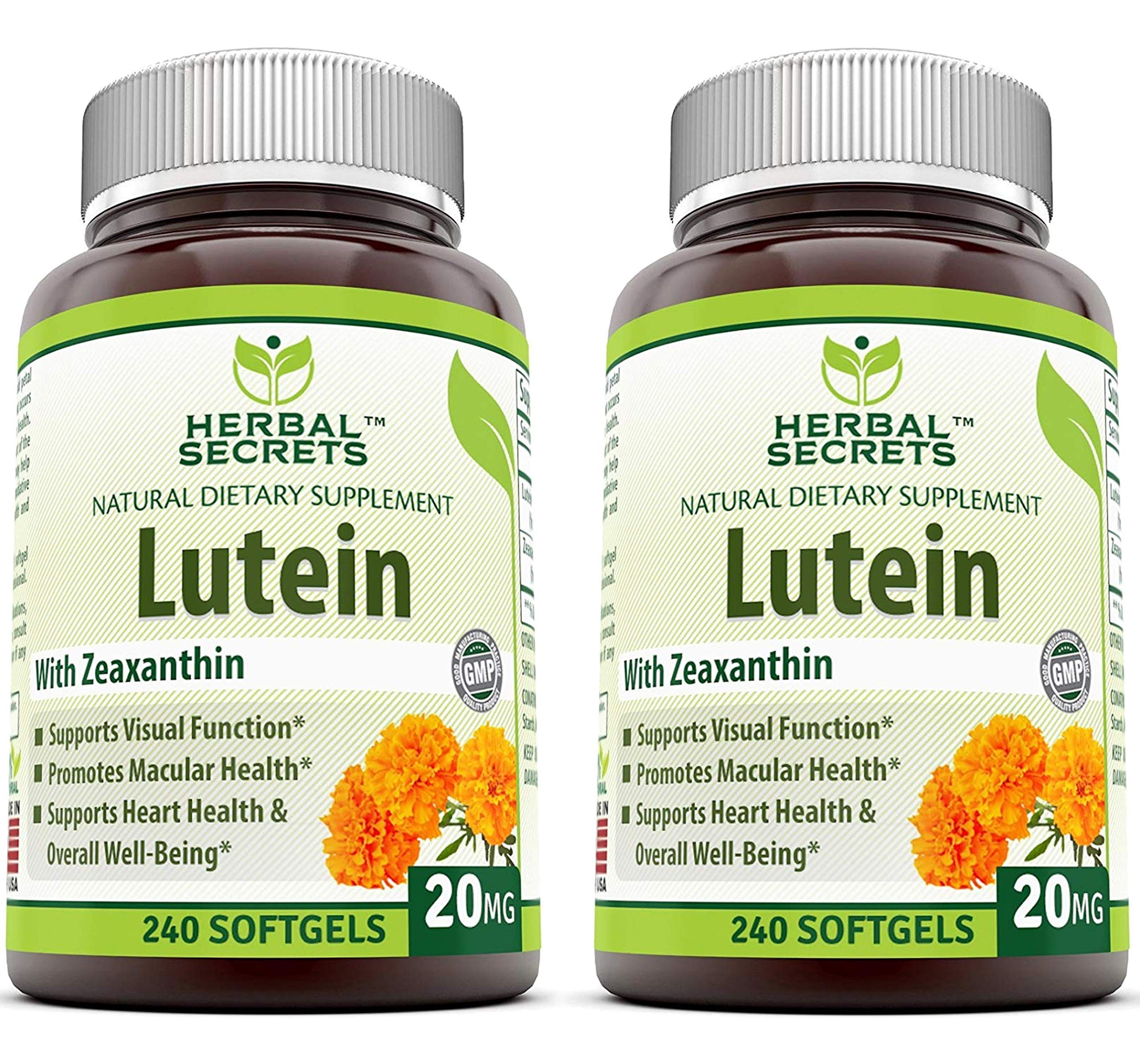 Herbal Secrets Lutein with Zeaxanthin 20 Mg 240 Softgels (Pack of 2 Bottles)