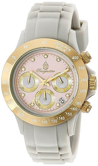 Burgmeister BM514-060 - Reloj cronógrafo de mujer de cuarzo con correa de plástico gris