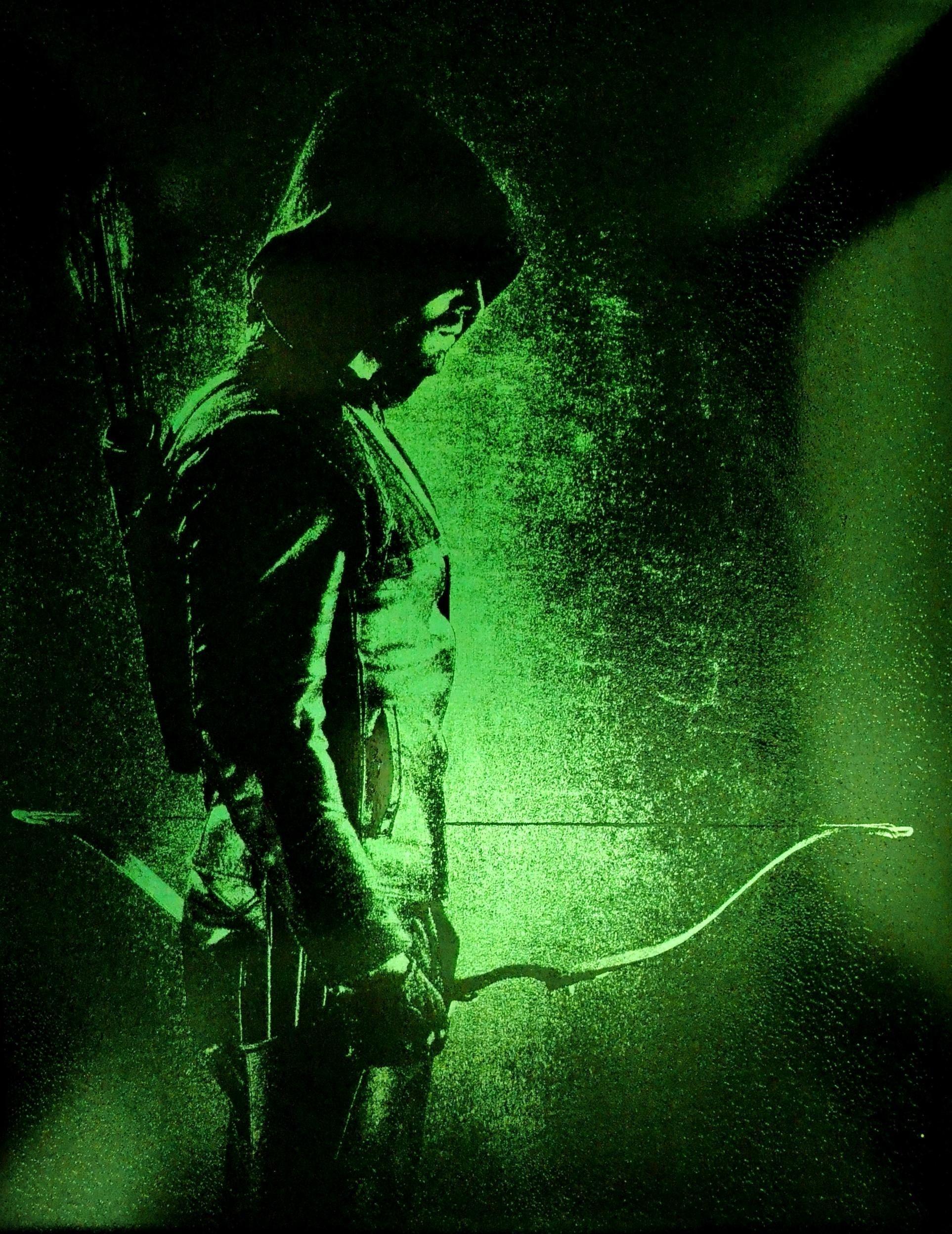 Green Arrow Metal Painting Arrowverse CW DC Comics Justice League Spray Paint Art by Art of Steel