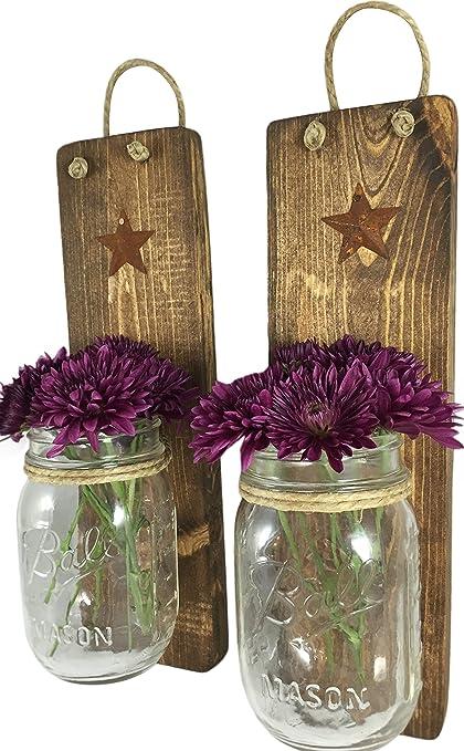 Amazon.com: Heartful Home Decor, Ball Mason Jar Wall Sconces ...