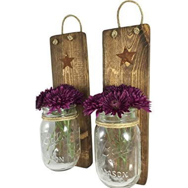 Heartful Home Decor, Ball Mason Jar Wall Sconces - Primitive Country - Set of 2 - Perfect for Candles, Flowers, or Anything You Like to Showcase, Top Rustic Housewarming Gift (Provincial)