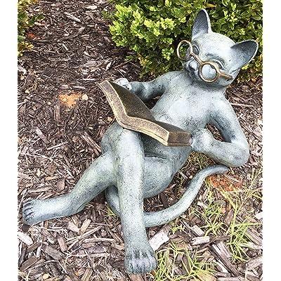 Outdoor Garden Patio Bookworm Feline Cat With Glasses Reading Book Tanning Under The Sun Statue Lawn Ornament Decor : Garden & Outdoor
