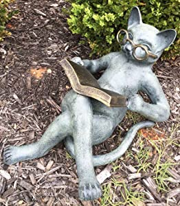 Outdoor Garden Patio Bookworm Feline Cat with Glasses Reading Book Tanning Under The Sun Statue Lawn Ornament Decor