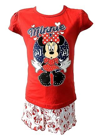 57532a4ed Girls Kids Disney Minnie Mouse Shortie Pyjamas PJs Nightwear Red 4 ...