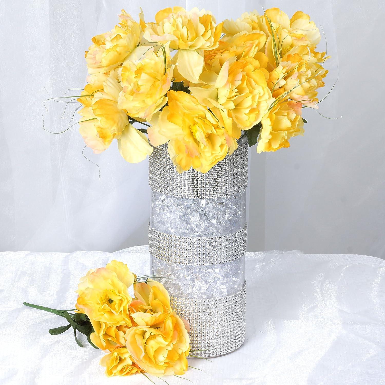 12 Silk PEONY Bushes Wedding Flowers PEONIES Bouquets Wholesale Centerpieces